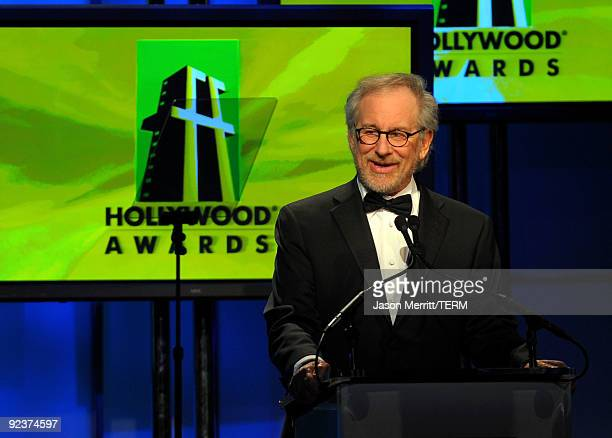 Producer Steven Spielberg presents the Screenwriter Award onstage during the 13th annual Hollywood Awards Gala Ceremony held at The Beverly Hilton...