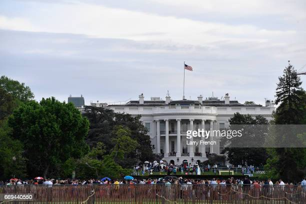 Producer Stewart F Lane Frankie Lane Lenny Lane and producer Bonnie Comley attend the White House Easter Egg Roll 2017 on April 17 2017 in Washington...