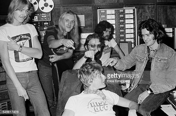 Producer studio engineers and Thin Lizzy crew in the control room at Ramport Studio Battersea during the recording of the band's 'Johnny the Fox'...