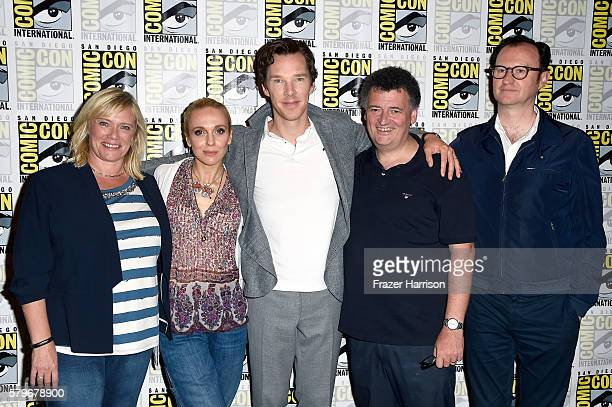 Producer Sue Vertue actors Amanda Abbington and Benedict Cumberbatch writer/producer Steven Moffat and actor/writer/producer Mark Gatiss attend the...