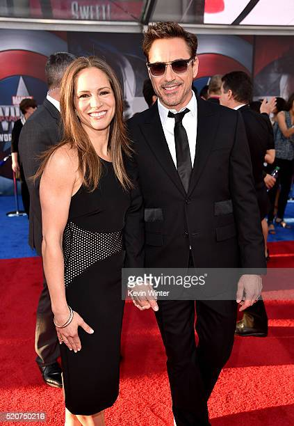 Producer Susan Downey and actor Robert Downey Jr attend the premiere of Marvel's 'Captain America Civil War' at Dolby Theatre on April 12 2016 in Los...