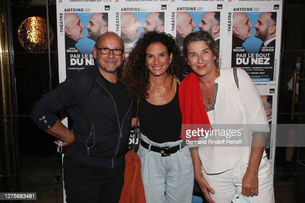 """Producer Sylvain Goldberg, actresses Barbara Cabrita and Isabelle Gelinas attend the """"Par le bout du nez"""" : Press Preview at Theatre Antoine on..."""