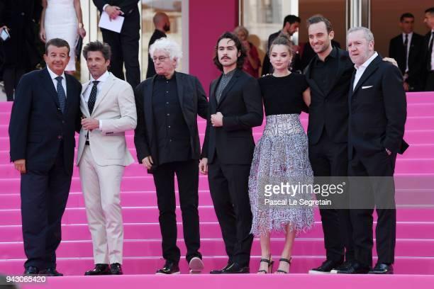 Producer Tarak Ben Ammar, actor Patrick Dempsey, director Jean-Jacques Annaud, actors Ben Schnetzer, Kristine Froseth, writer Joel Dicker and...