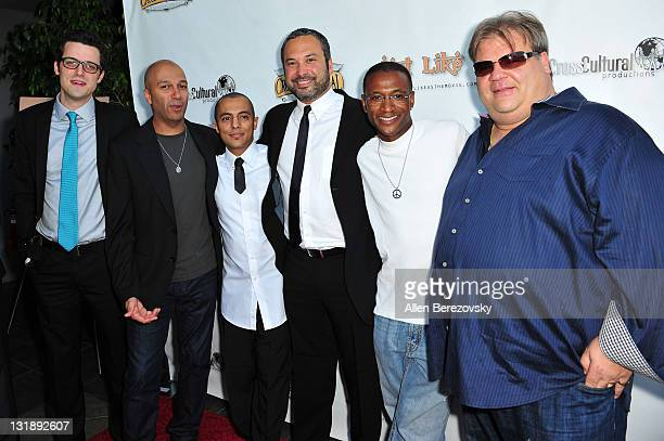 Producer Taylor Feltner actors Tom Morello Eman Morgan Ahmed Ahmed Tommy Davidson and Angelo Tsarouchas arrive at the 'Just Like Us' Los Angeles...