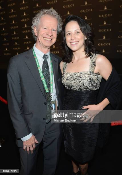 Producer Terry Lacona and Leslie King pose during the 2012 Person of the Year honoring Caetano Veloso at the MGM Grand Garden Arena on November 14...