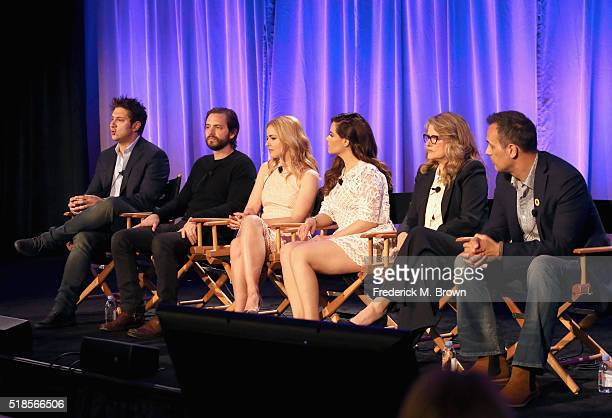 Producer Terry Matalas actor Aaron Stanford actress Amanda Schull actress Emily Hampshire actress Barbara Sukowa and actor Todd Stashwick speak...