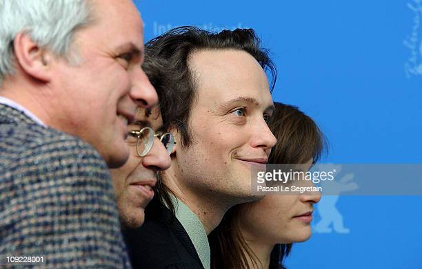 Producer Thomas Kufus director Andres Veiel actor August Diehl and actress Lena Lauzemis attend the 'Wer wenn nicht wir' Photocall during day eight...
