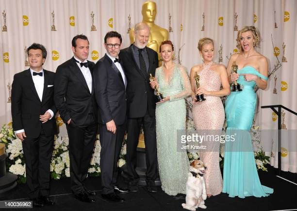 Producer Thomas Langmann actor Jean Dujardin director Michel Hazanavicius actors James Cromwell Uggie the dog Berenice Bejo Penelope Ann Miller and...