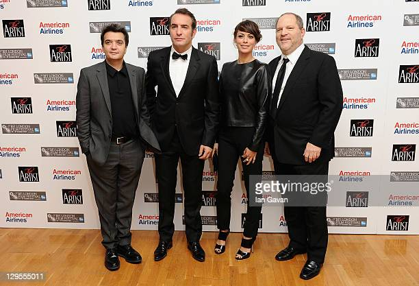 Producer Thomas Langmann actors Jean Dujardin Berenice Bejo and producer Harvey Weinstein attend ' The Artist' premiere during the 55th BFI London...