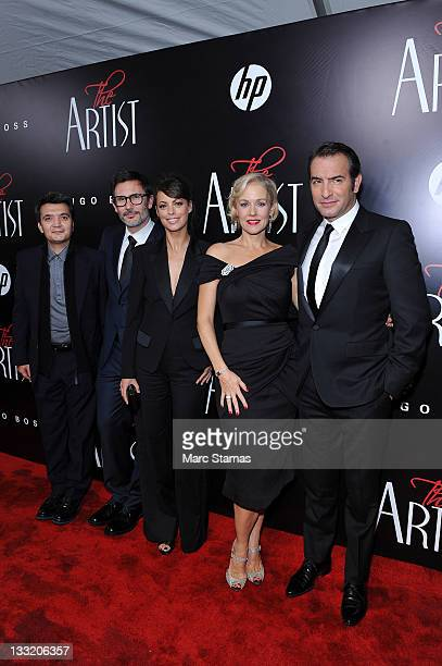 Producer Thomas Langmann director Michel Hazanavicius Berenice Bejo actress Penelope Ann Miller and actor Jean Dujardin attend the premiere of The...