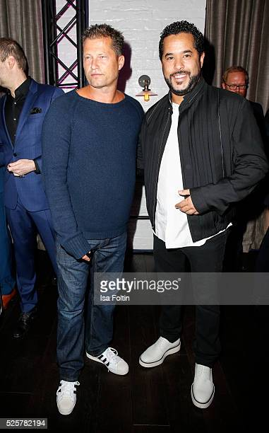 Producer Til Schweiger and musician singer and songwriter Adel Tawil during the Telekom Entertain TV Night Party at Hotel Zoo on April 28 2016 in...