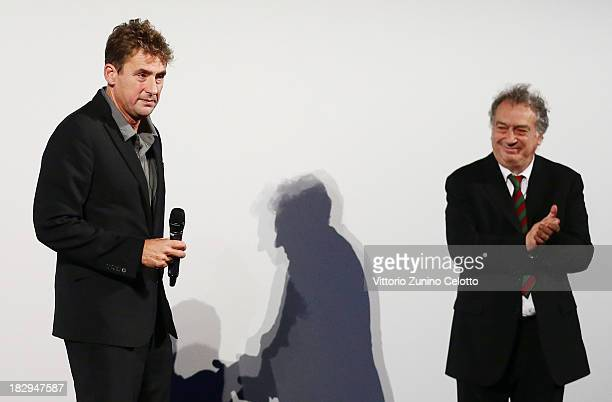 Producer Tim Bevan and Director Stephen Frears attend the Career Achievement Award ceremony at the Zurich Film Festival 2013 on October 2 2013 in...