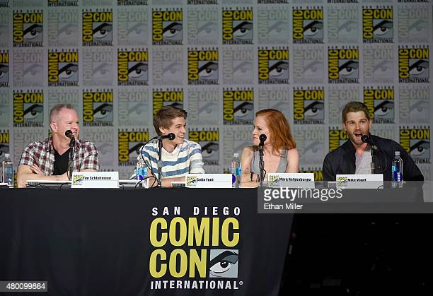 Producer Tim Schlattmann actor Colin Ford actress Marg Helgenberger and actor Mike Vogel attend CBS TV Studios' panel for 'Under the Dome' during...
