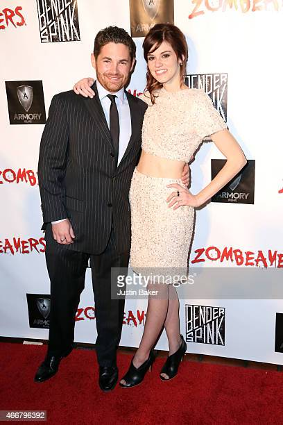 Producer Tim Zajaros and Actress Rachel Melvin attend the premiere of Freestyle Releasing's new film 'Zombeavers' at The Theatre At The Ace Hotel on...