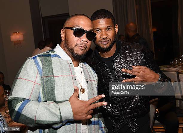 Producer Timbaland and recording artist Usher Raymond attend the ASCAP Rhythm And Soul 3rd Annual Atlanta Legends Dinner Honoring Antonio 'LA' Reid...