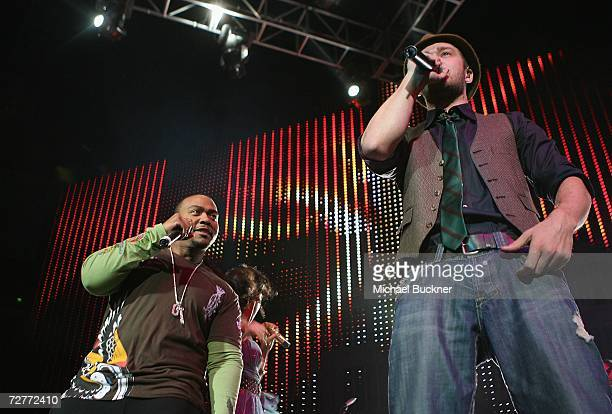 Producer Timbaland and singer Justin Timberlake perform at KIIS FM's Jingle Ball 2006 at the Honda Center on December 7 2006 in Anaheim California