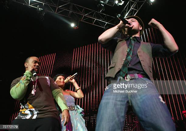 Producer Timbaland singer Nelly Furtado and singer Justin Timberlake perform at KIIS FM's Jingle Ball 2006 at the Honda Center on December 7 2006 in...