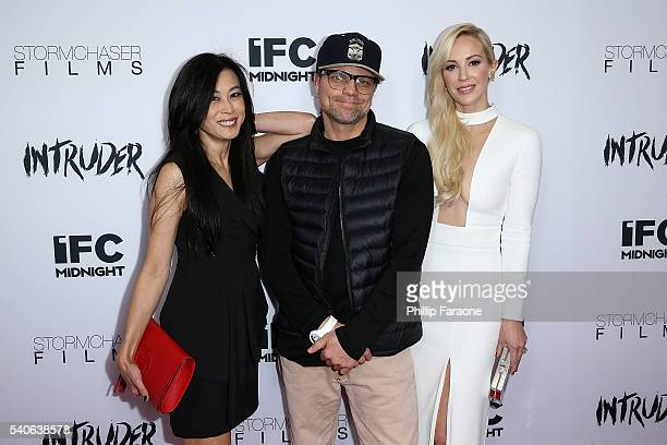 Producer Tina Sutakanat director Travis Z and producer/actress Louise Linton attend the premiere of IFC Midnight's Intruder at Regency Bruin Theater...