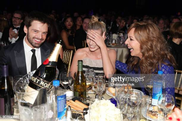 Producer Tom Ackerley and actors Margot Robbie and Allison Janney attend The 23rd Annual Critics' Choice Awards at Barker Hangar on January 11 2018...
