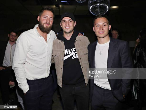 Producer Tom Ackerley talent manager Zac Frognowski and actor Finn Cole attend the 2019 Tribeca Film Festival afterparty for Dreamland hosted by...
