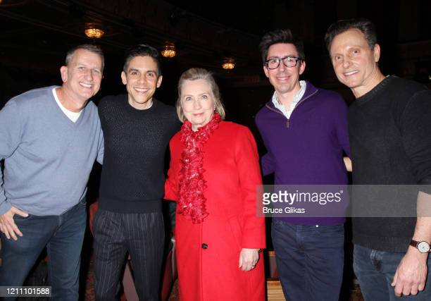 Producer Tom Kirdahy playwright Matthew Lopez Hillary Clinton Brandon Clarke and Tony Goldwyn pose backstage at the play The Inheritance on Broadway...