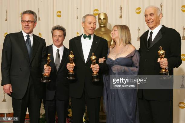 TELECAST*** Producer Tom Rosenberg Actor Dustin Hoffman Producer Clint Eastwood Actress Barbara Streisand and Producer Albert S Ruddy pose with the...