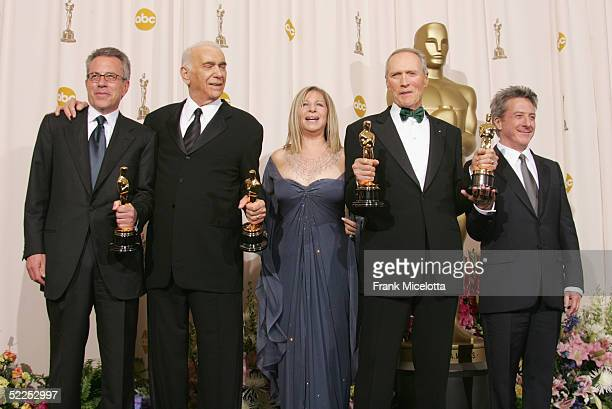 Producer Tom Rosenberg Actor Dustin Hoffman Producer Clint Eastwood Actress Barbara Streisand and Producer Albert S Ruddy pose with the award for...