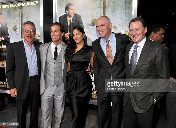 """Producer Tom Rosenberg, actor Matthew McConaughey, model Camila Alves, COO of Lionsgate Joe Drake and producer Gary Lucchesi arrive at """"The Lincoln..."""