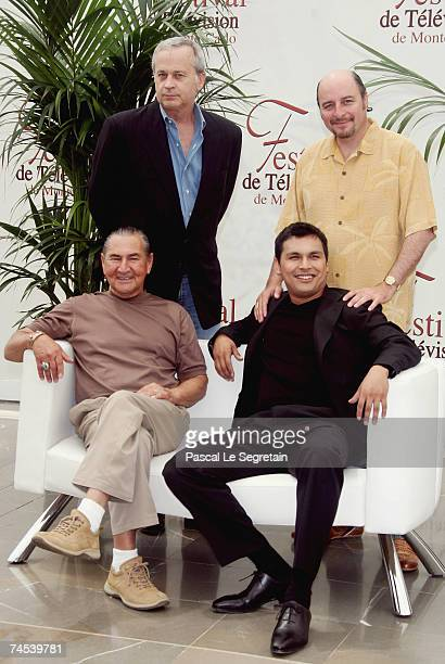 Producer Tom Thayer director Yves Simoneau actors August Schellenberg and Adam Beach attend a photocall promoting the television serie 'Bury My Heart...