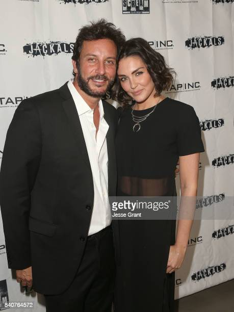 Producer Tommy Alastra and actress Taylor Cole attend the Los Angeles Premiere of Jackals on August 29 2017 in Hollywood California
