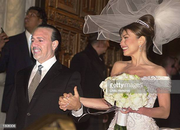 Producer Tommy Mattola With His New Bride Mexican Actress And Singer Thalia Just After Their Wedding