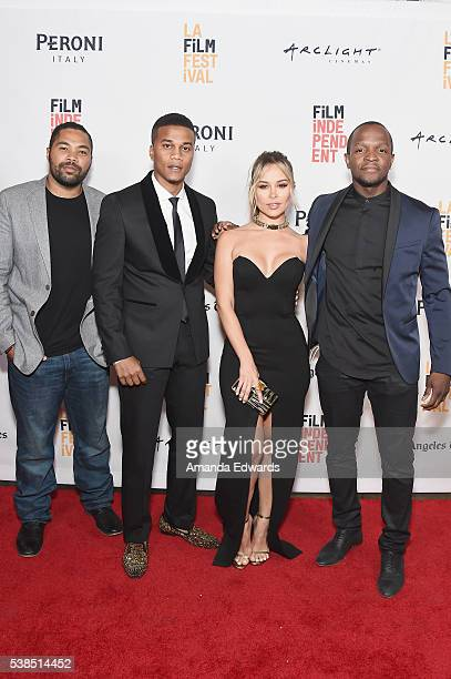 Producer Tommy Oliver actor Cory Hardrict actress Zulay Henao and filmmaker Qasim Basir attend the premiere of Destined during the 2016 Los Angeles...