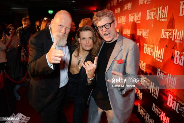 Producer Tony Smith cast member Giovanni Spano and director Jay Scheib attends the Gala Night after party for 'Bat Out Of Hell The Musical' at the...
