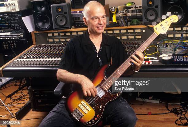 Producer Tony Visconti at the mixing desk in a recording studio control room at Looking Glass Studio in New York City on July 19, 2002. Visconti is...