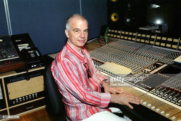 Producer Tony Visconti at the mixing desk in a recording studio control room at Looking Glass Studio in New York City on June 27, 2002. Visconti is...