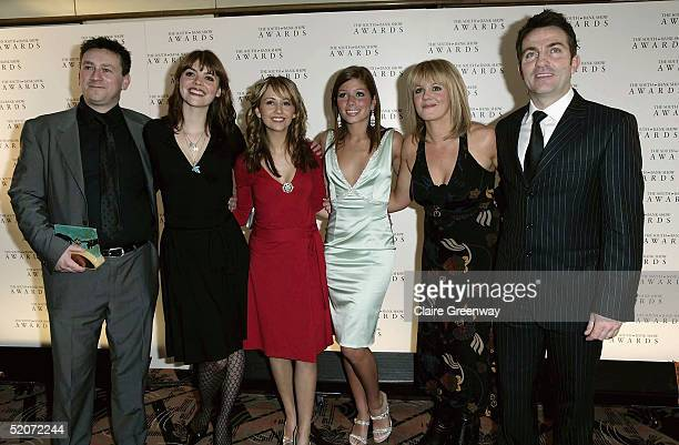 Producer Tony Wood and members of the cast of Coronation Street Kate Ford Samia Ghadie Nikki Sanderson Sally Lindsay and Bradley Walsh pose with the...