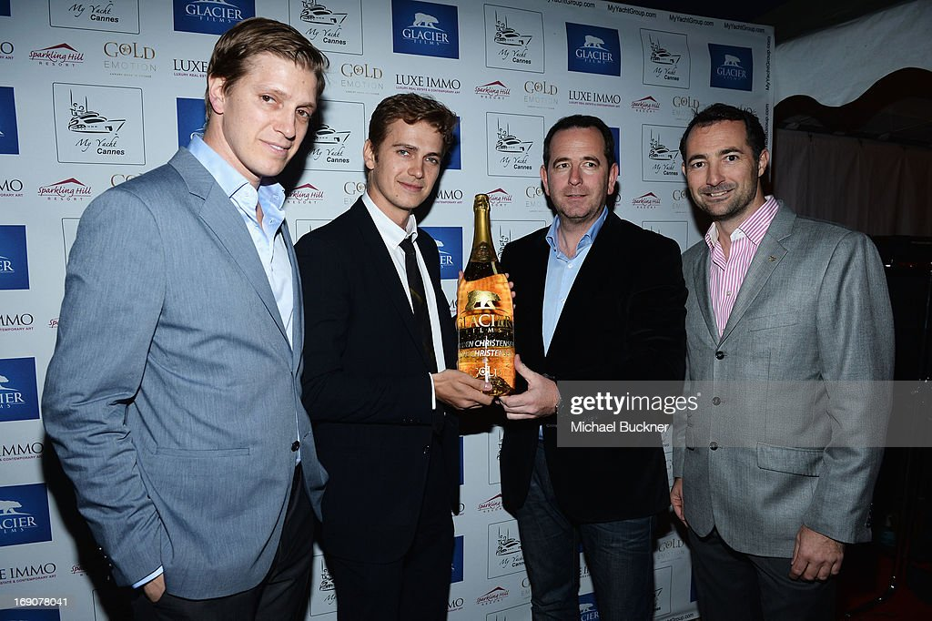 Producer Tove Christensen, actor Hayden Christensen, and Nicholas Frankl and a guest attend the Glacier Films launch party hosted by Hayden C and Michael Saylor aboard the Yacht Harle on May 19, 2013 in Cannes, France.