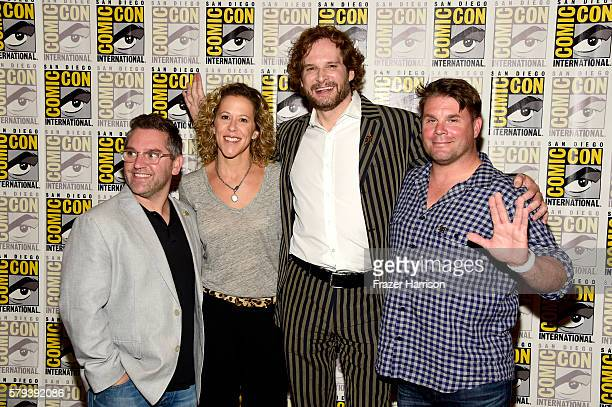 Producer Trevor Roth producer Heather Kadin writer Bryan Fuller and producer Rod Roddenberry attends the 'Star Trek 50' press line during ComicCon...