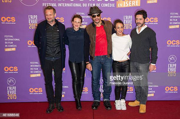 Producer Tristan Aurouet actors Camille Cottin Joeystarr Alice Belaidi and Manu Payet pose during the photocall for 'Les Gorilles' before the closing...