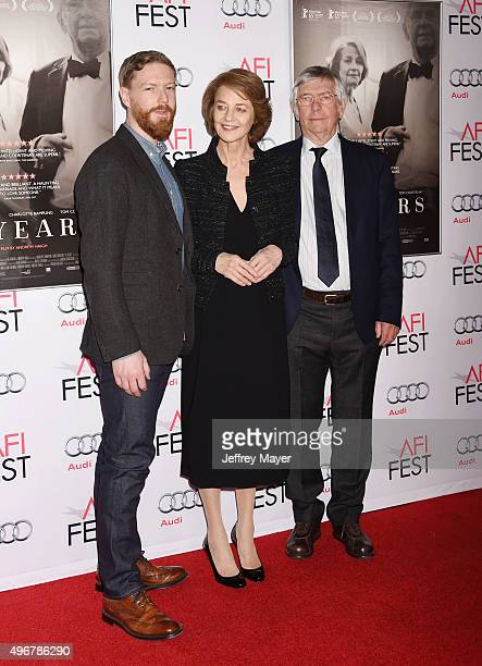 Producer Tristan Goligher actress Charlotte Rampling and actor Tom Courtenay arrive at the AFI FEST 2015 Presented by Audi Tribute to Charlotte...