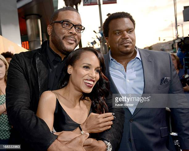 Producer Tyler Perry actors Kerry Washington and Craig Robinson arrive at the premiere of 'Peeples' presented by Lionsgate Film and Tyler Perry at...