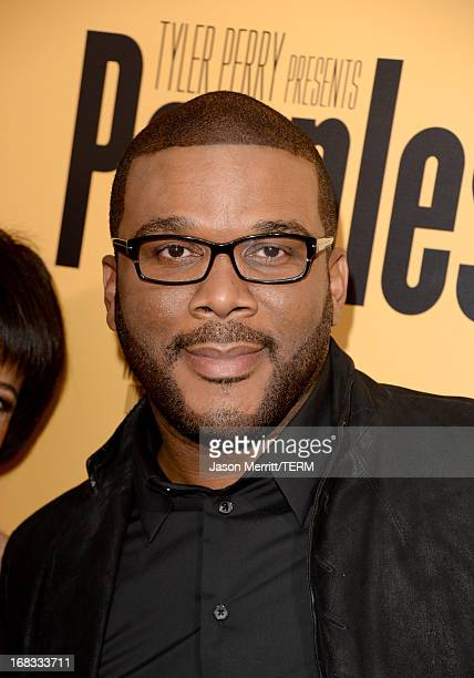 Producer Tyler Perry arrives at the premiere of 'Peeples' presented by Lionsgate Film and Tyler Perry at ArcLight Hollywood on May 8 2013 in...