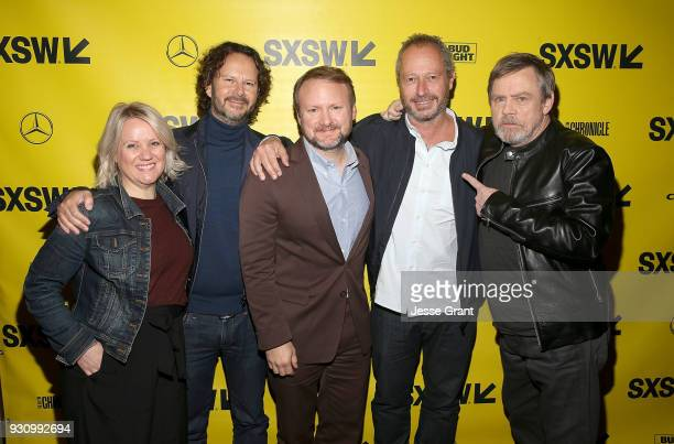 Producer Tylie Cox producer Ram Bergman Writer/Director Rian Johnson director Anthony Wonke and actor Mark Hamill attend the Star Wars The Last Jedi...