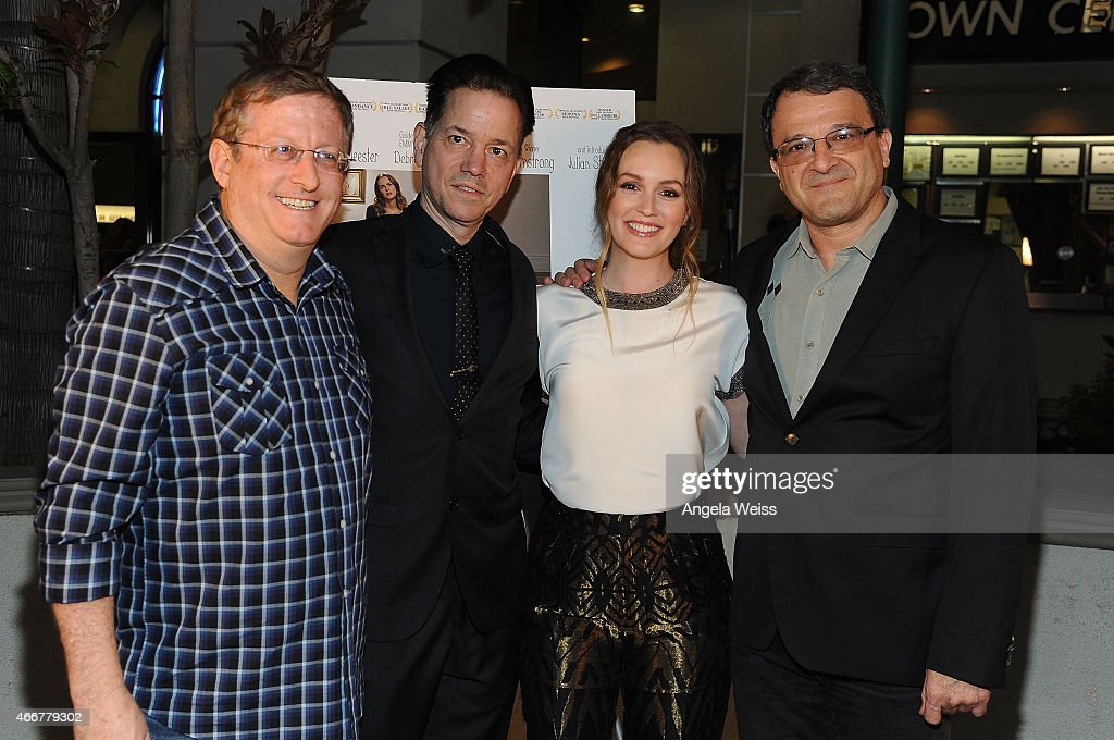 Producer Uri Singer, director Frank Whaley, actress Leighton Meester and producer Fabio Golombek attend the Premiere of Monterey Media's 'Like Sunday, Like Rain' at Laemmle's Town Center 5 on March 18, 2015 in Encino, California.