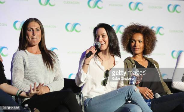"""Producer Vanessa Piazza, actresses Zoie Palmer and Erica Luttrell speak at the """"Lost Girl Reunion"""" panel during the ClexaCon 2018 convention at the..."""