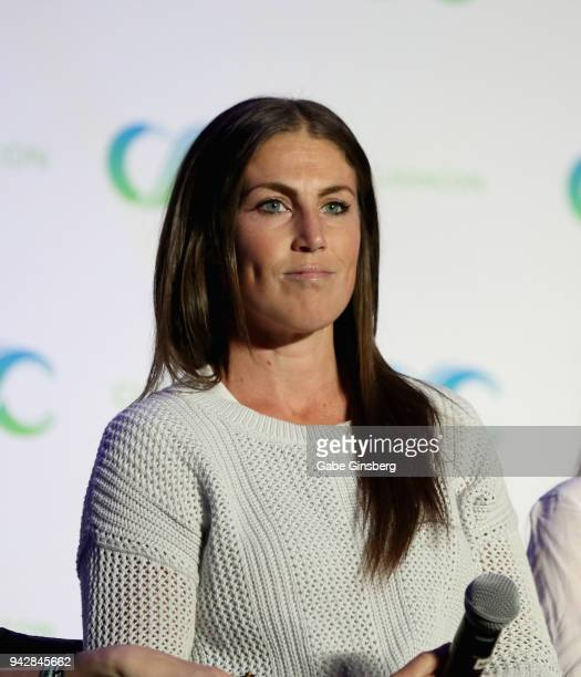 """Producer Vanessa Piazza speaks at the """"Lost Girl Reunion"""" panel during the ClexaCon 2018 convention at the Tropicana Las Vegas on April 6, 2018 in..."""