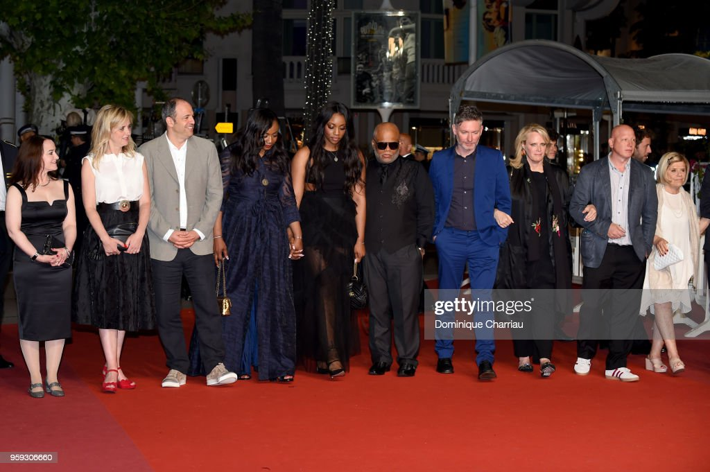 Producer Vanessa Tovell, Lisa Chinn, producer Simon Chinn, producer Pat Houston, Rayah Houston, director Kevin Macdonald, producer Lisa Erspamer, producer Jonathan Chinn and producer Nicole David attend the screening of 'Whitney' during the 71st annual Cannes Film Festival at Palais des Festivals on May 16, 2018 in Cannes, France.