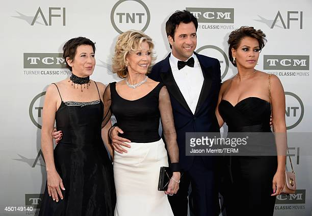 Producer Vanessa Vadim Honoree Jane Fonda actor Troy Garity and Simone Bent attend the 2014 AFI Life Achievement Award A Tribute to Jane Fonda at the...