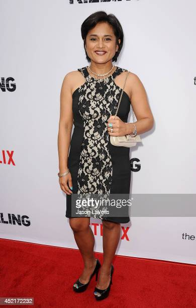 Producer Veena Sud attends the season 4 premiere of 'The Killing' at ArcLight Hollywood on July 14 2014 in Hollywood California