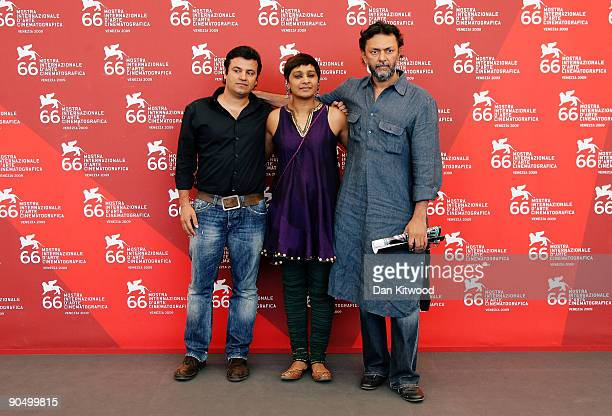 Producer Vikas Bahl editor Bharathi Mehra and director Rakeysh Omprakash Mehra attend the Delhi6 photocall at the Palazzo del Casino during the 66th...